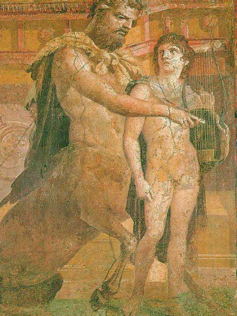 Chiron enseignant à Achille la lyre.