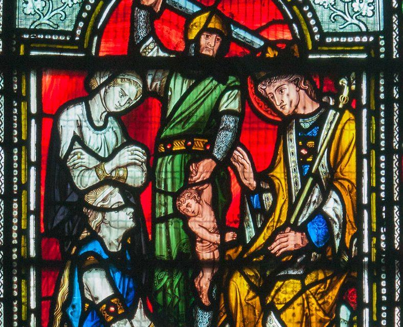 Détail d'un vitrail de la Cathédrale Christ Church de Dublin : le jugement de Salomon